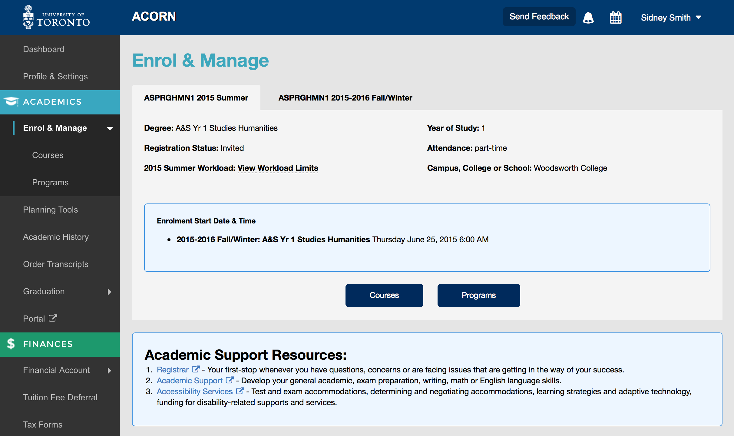 screenshot of start time on Enrol and manage page