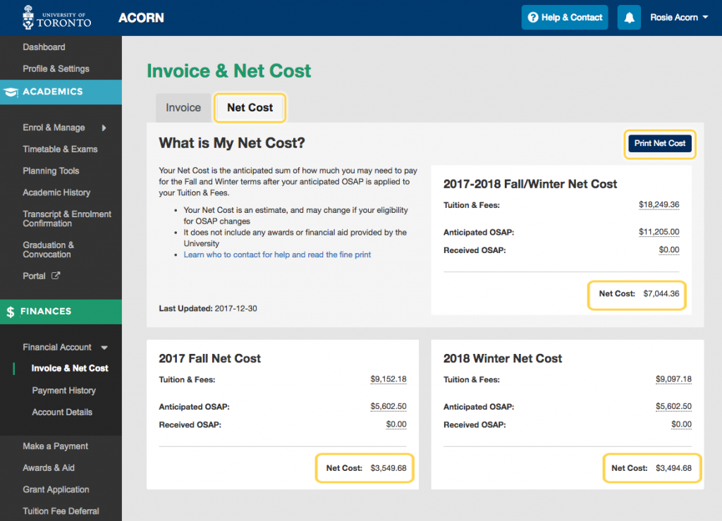 Net Cost View page within ACORN