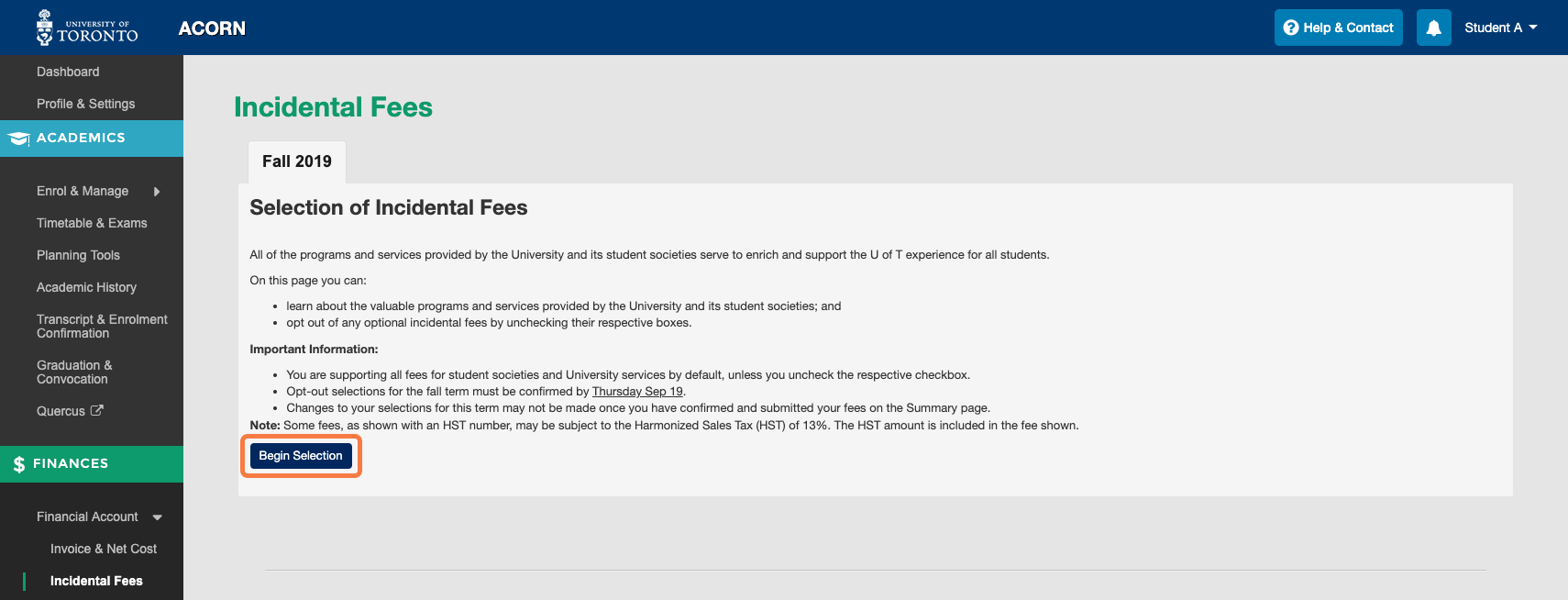 Incidental Fees screen before selections have begun