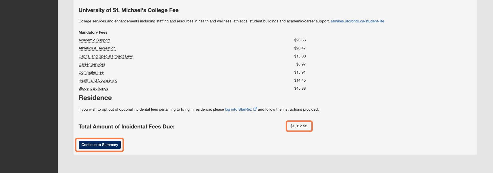 The bottom portion of the fee selection form which contains the total fees due